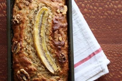 Banana Walnut Bread in a bread pan