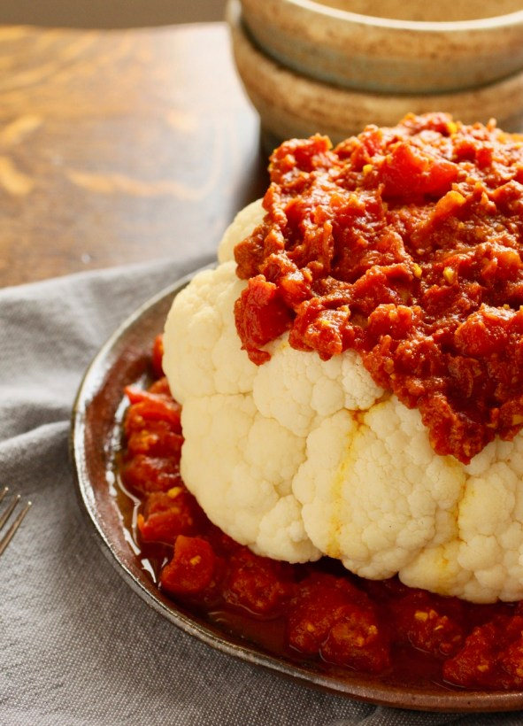Cauliflower with Spicy Tomato Sauce | Cauliflower, tomatoes and spiceshelp keep your immune system strong and healthy,deliciously. Easy, vegetarian recipe. www.LiveBest.info