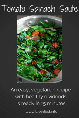 Tomato Spinach Saute | Healthy, easy, vegetarian recipe with fresh cherry tomatoes and spinach, garlic, olive oil, red chile flakes. www.LiveBest.info
