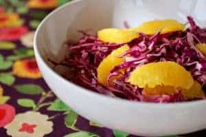 Orange Cabbage Slaw | Cabbage is sweeter the sooner you use it, but it's heartiness makes it last much longer than most lettuce and salad greens, giving you more time to use it. www.LiveBest.info