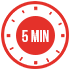 Red 5 minute cook time icon for creamy garlic penne pasta