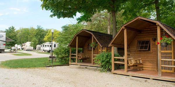 dayton koa, picture of camping cabins and rvs at dayton koa, 10 rv parks in ohio