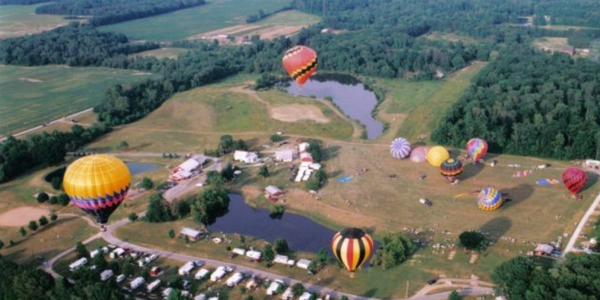 homerville koa, picture of hot air ballons taking off at homerville koa, 10 rv parks in ohio