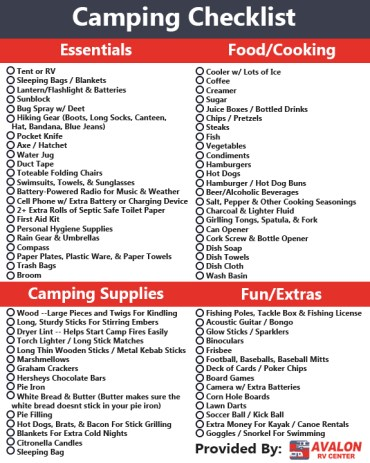 camping checklist, checklist to take camping, printable camping checklist