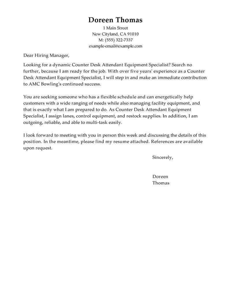 Hotel laundry attendant cover letter