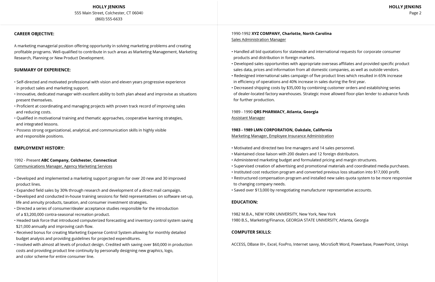 Two Page Resume Header 99 43 Free Professional Resume Formats And Designs Livecareer