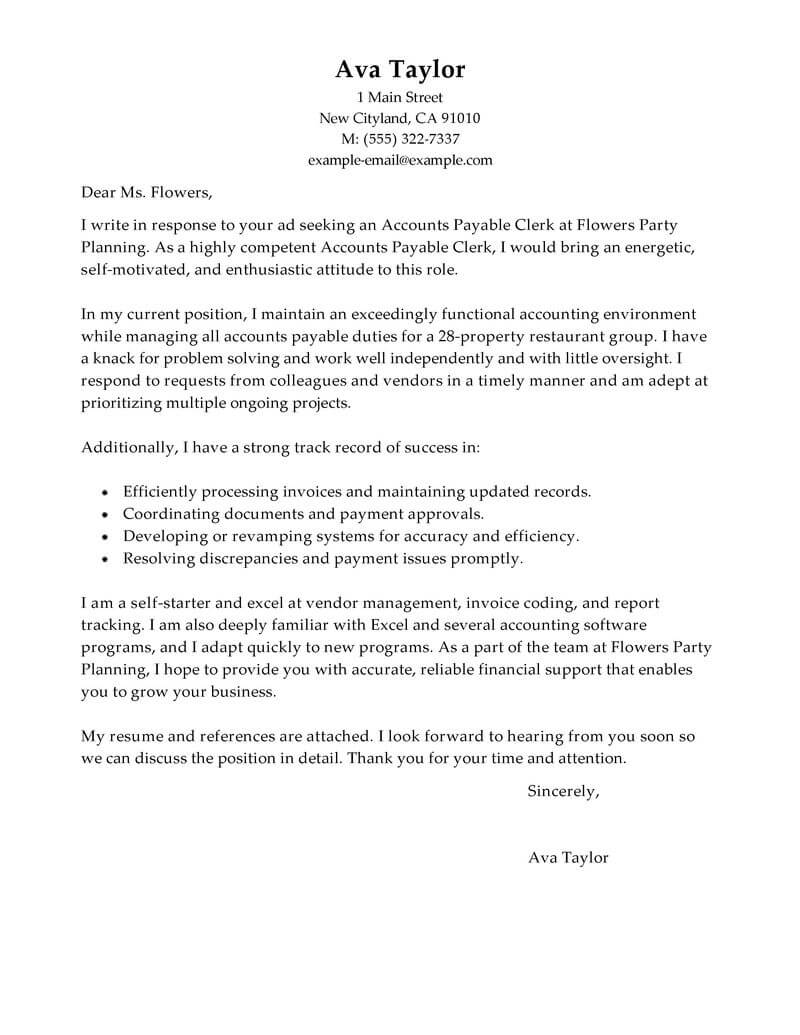 Accounts Payable Cover Letter For Resume Best Accounts Payable Specialist Cover Letter Examples Livecareer