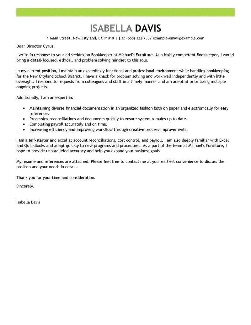 Staff Accountant Cover Letter Examples Best Bookkeeper Cover Letter Examples Livecareer