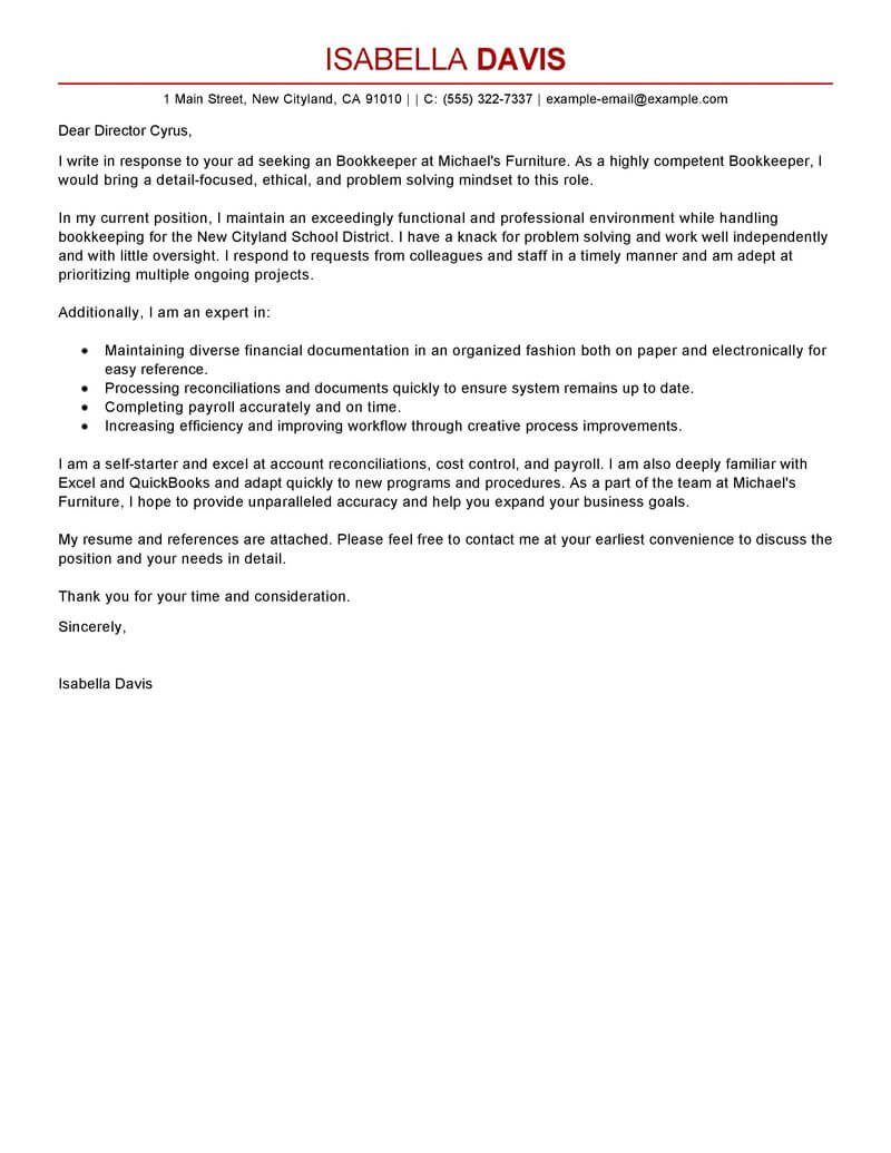 System Accountant Cover Letter Best Bookkeeper Cover Letter Examples Livecareer