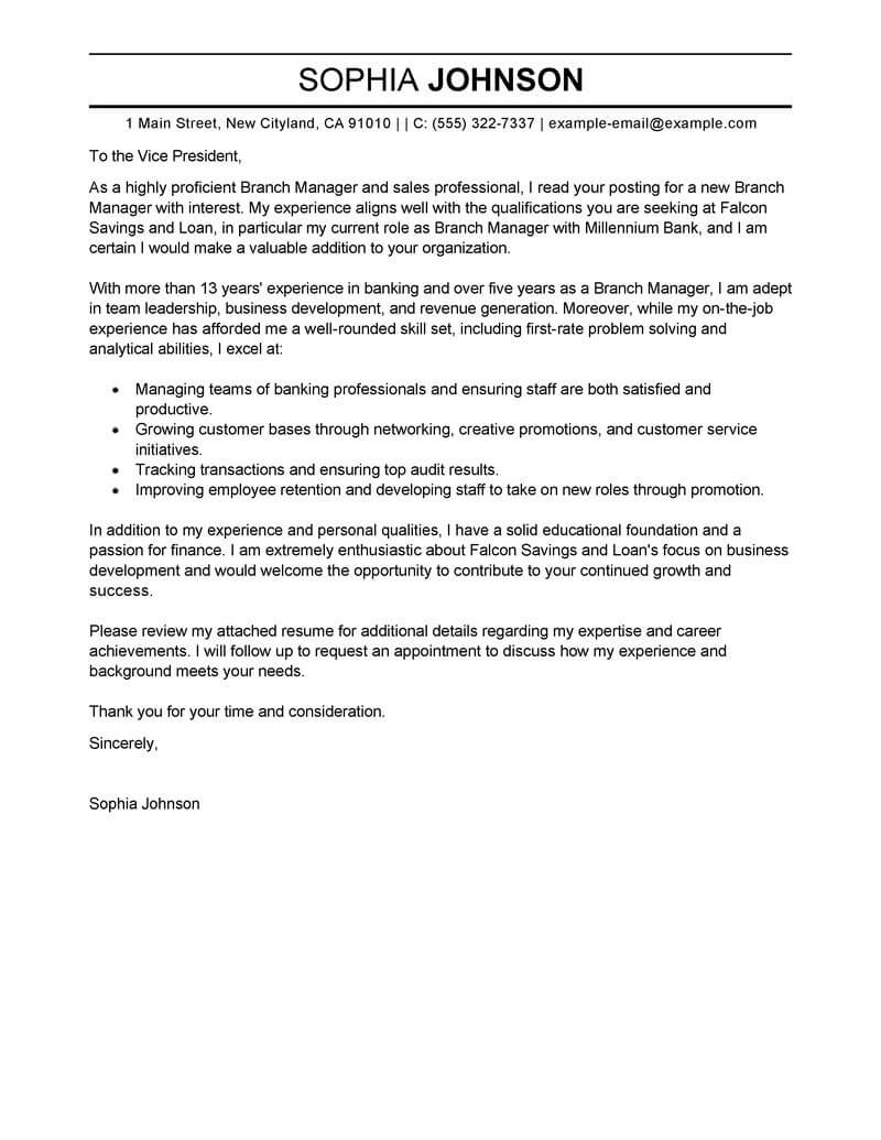 Branch Supervisor Cover Letter Best Branch Manager Cover Letter Examples Livecareer