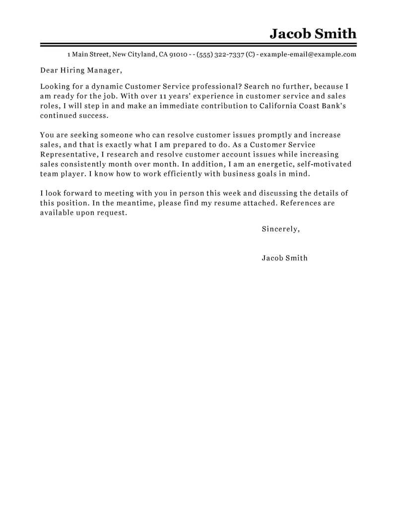 What To Say On A Cover Letter Best Finance Customer Service Representative Cover Letter Examples