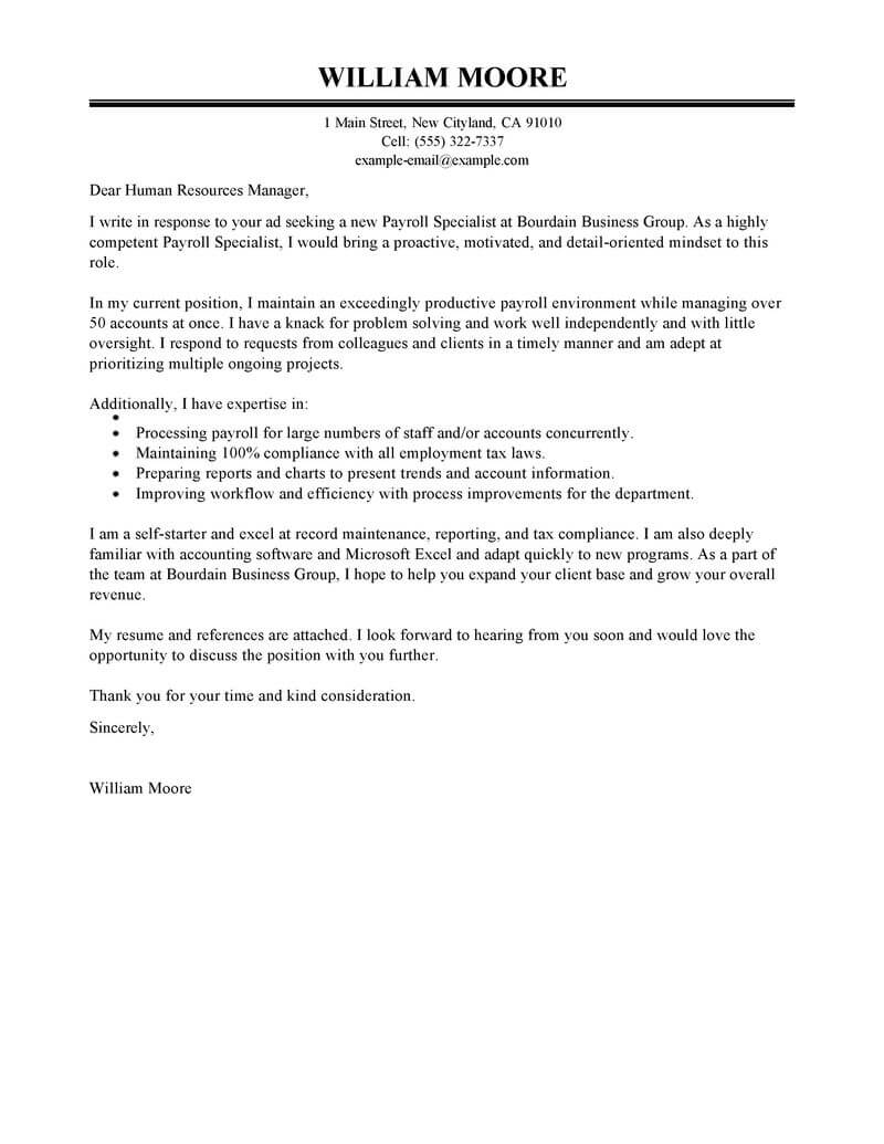 Financial Technician Cover Letter Best Payroll Specialist Cover Letter Examples Livecareer