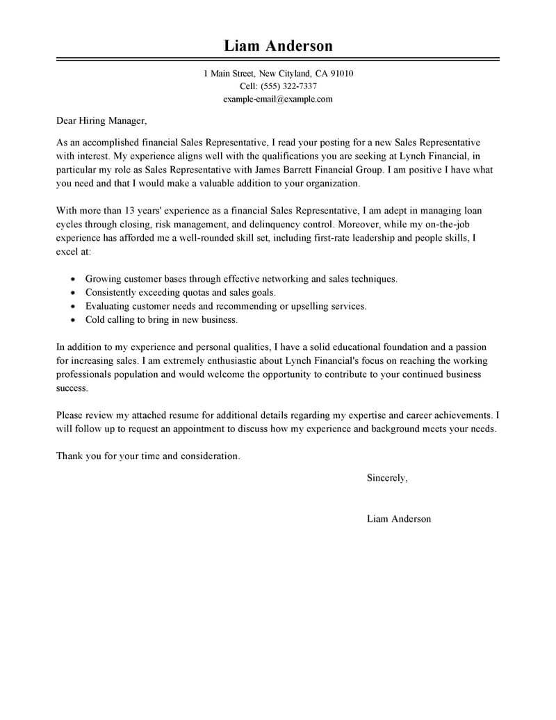 Chat Agent Cover Letter Best Sales Representative Cover Letter Examples Livecareer