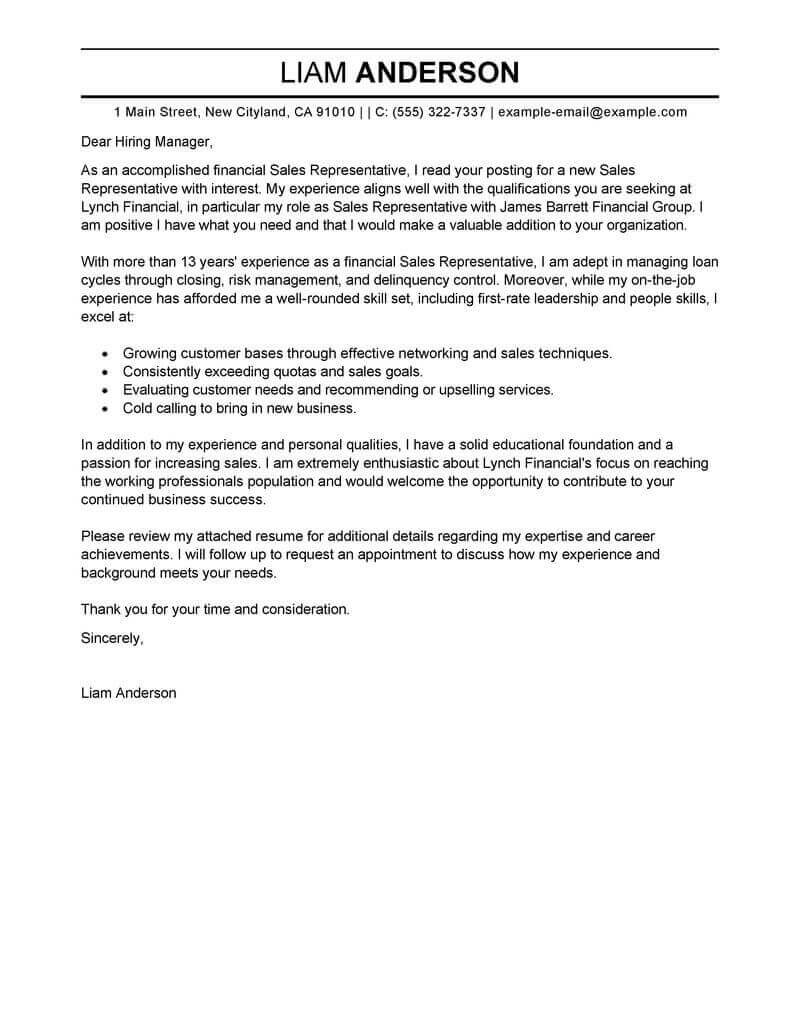 Sample Of Cover Letter Best Sales Representative Cover Letter Examples Livecareer