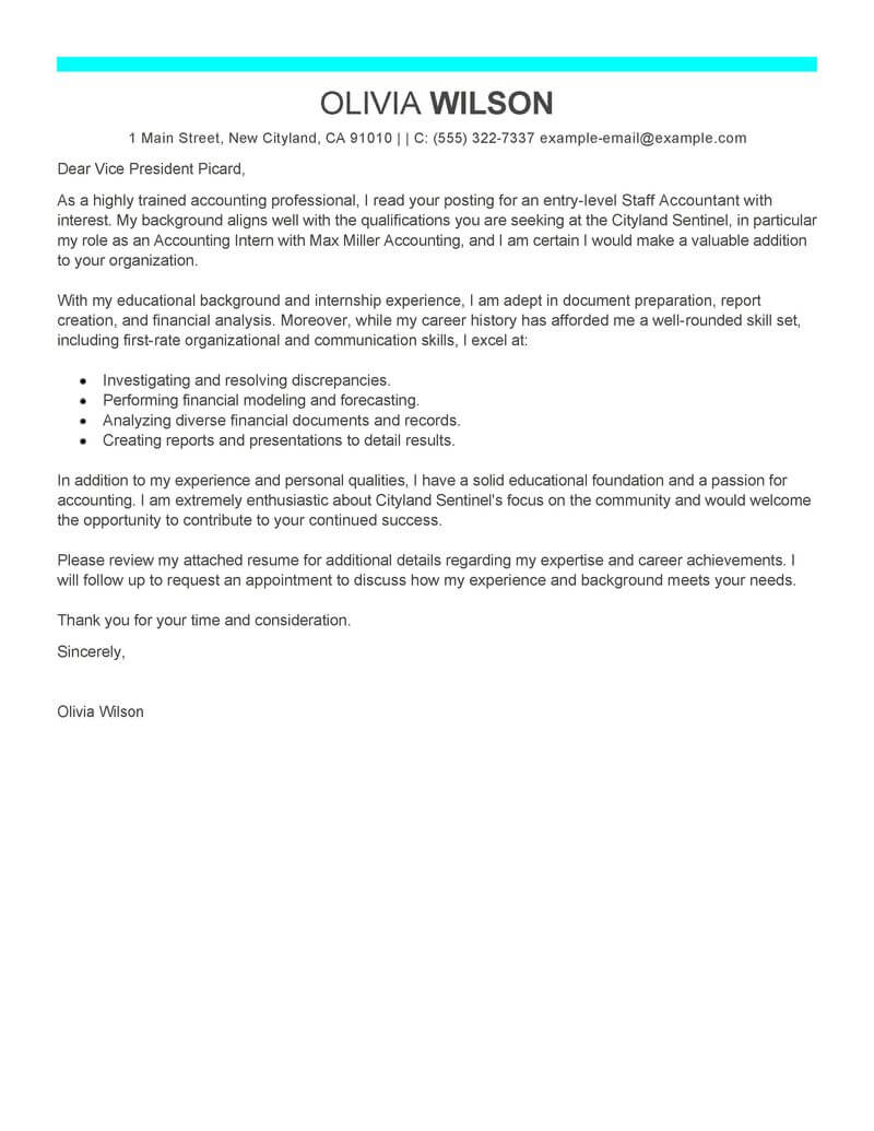 Staff Accountant Cover Letter Examples Best Staff Accountant Cover Letter Examples Livecareer