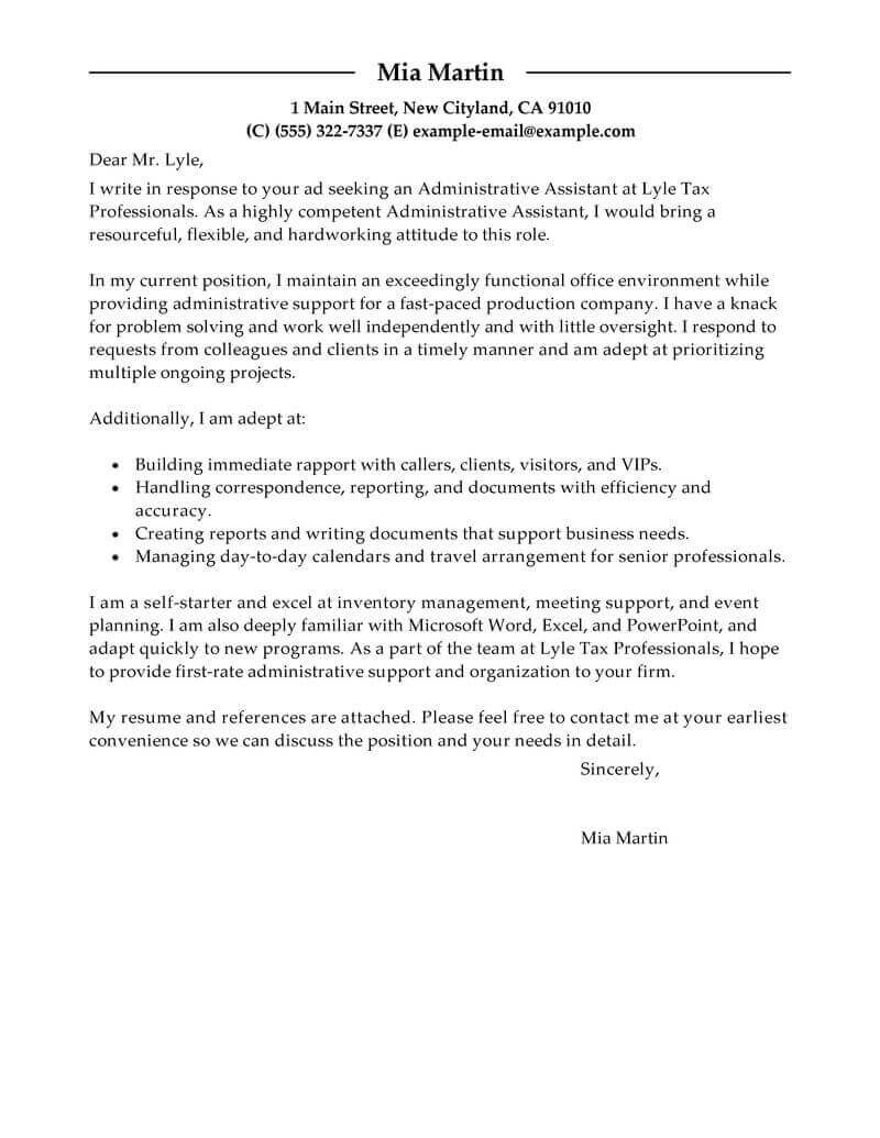 Sample Of Cover Letter Best Administrative Assistant Cover Letter Examples Livecareer