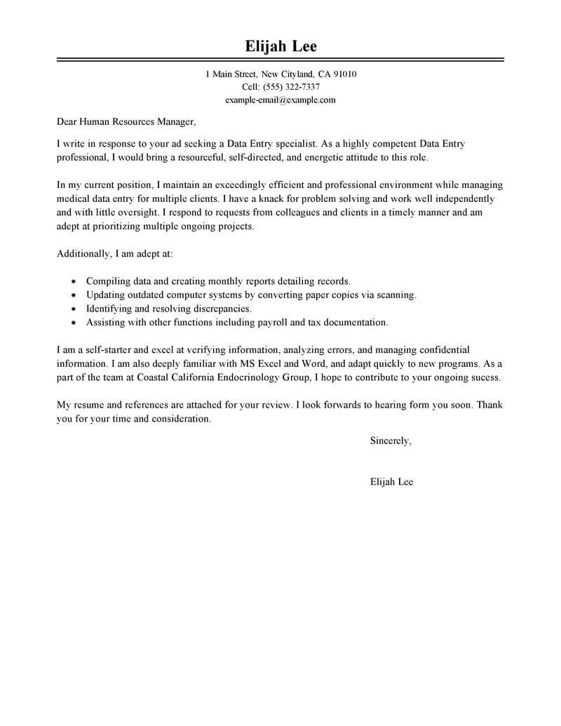 Human Resource Administration Cover Letter Best Data Entry Cover Letter Examples Livecareer