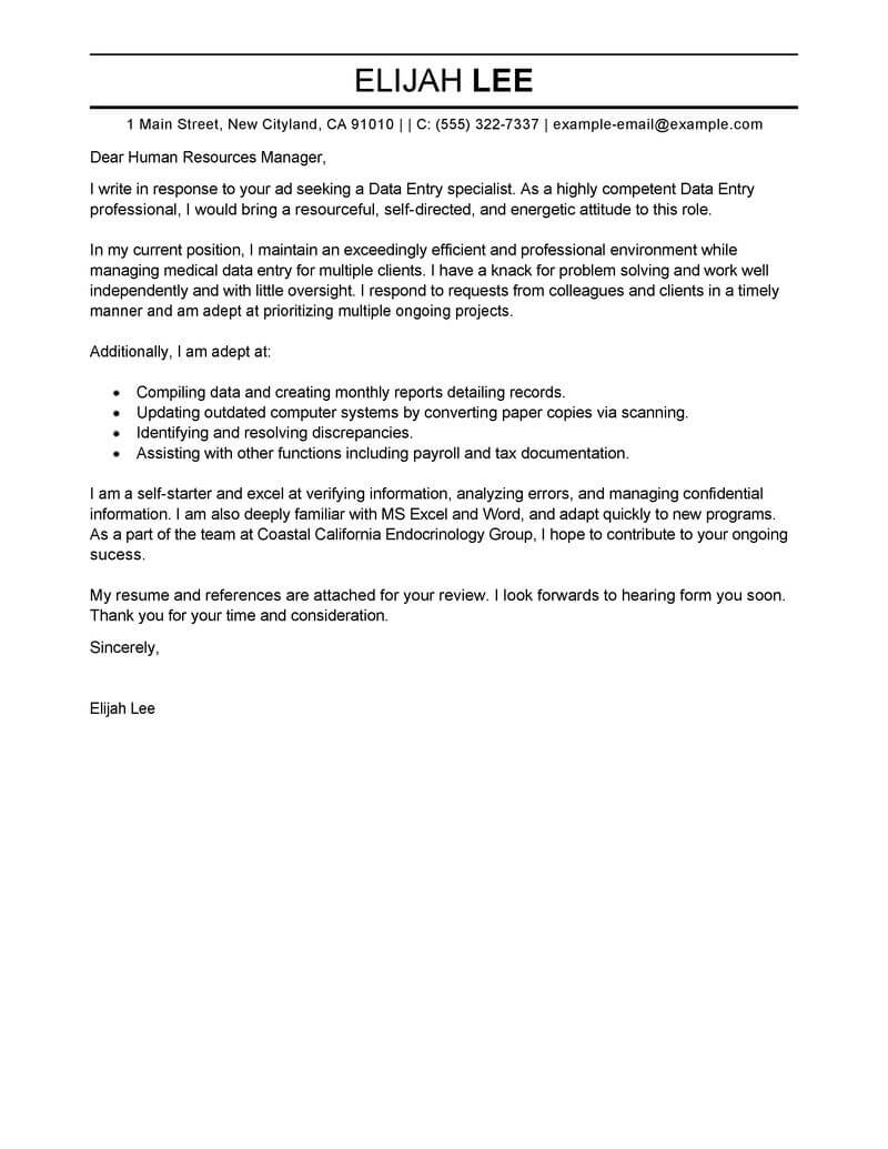 Sales And Marketing Executive Cover Letter Best Data Entry Cover Letter Examples Livecareer