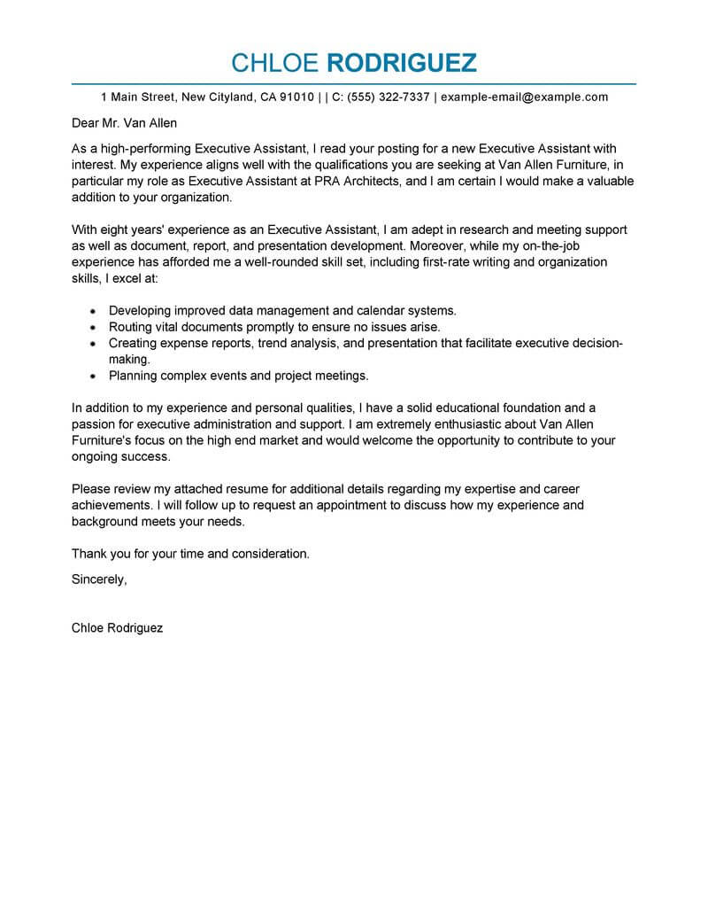 Chief Executive Cover Letter Best Executive Assistant Cover Letter Examples Livecareer