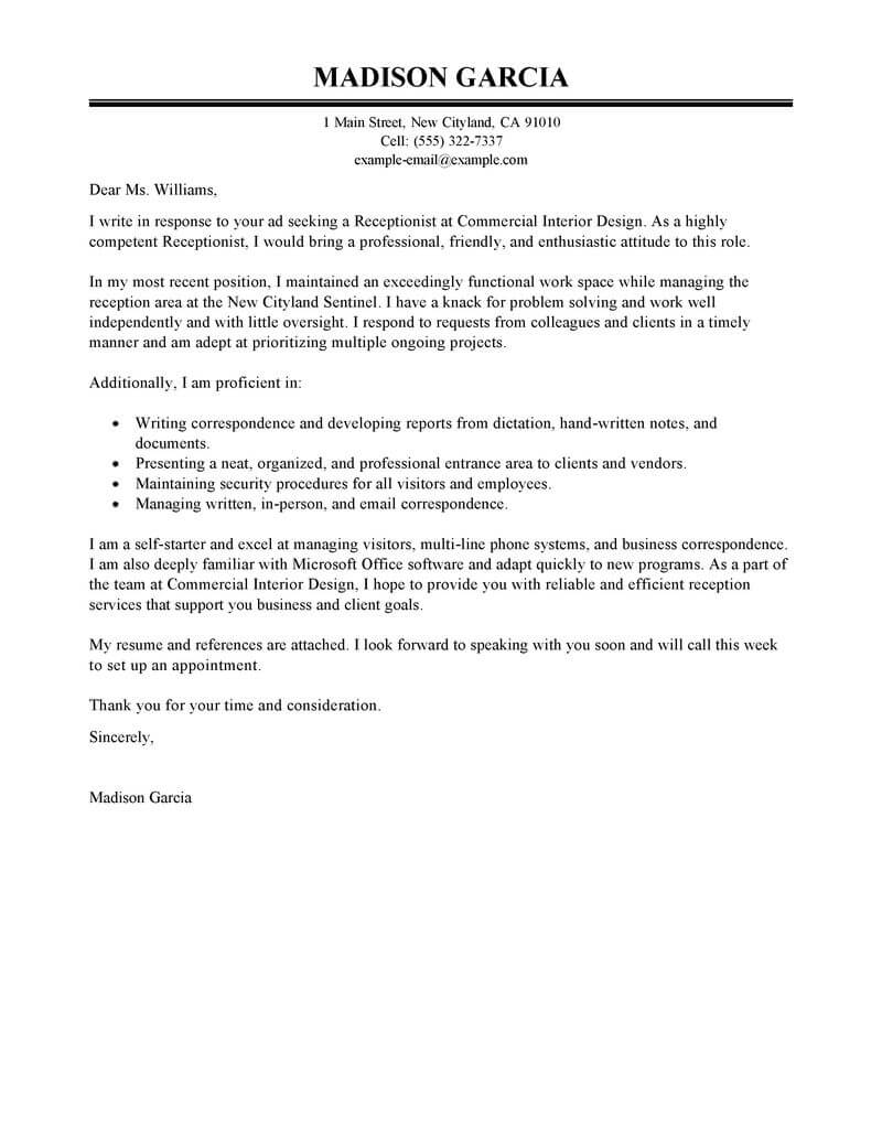 Sample Resume Cover Letter Examples Best Receptionist Cover Letter Examples Livecareer