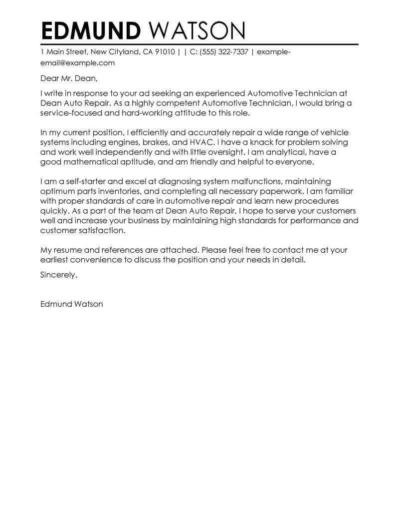Paint Technician Cover Letter Best Automotive Technician Cover Letter Examples Livecareer