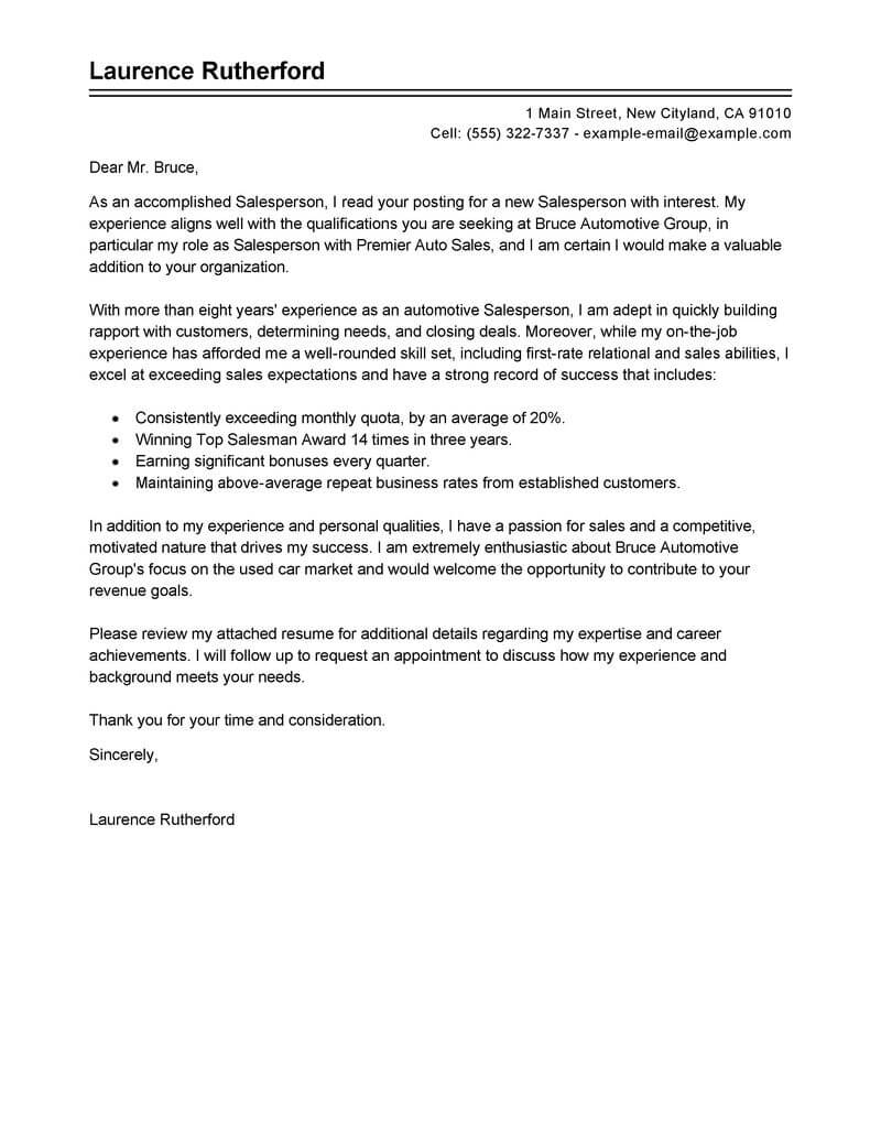 Brand Analyst Cover Letter Best Automotive Salesperson Cover Letter Examples Livecareer