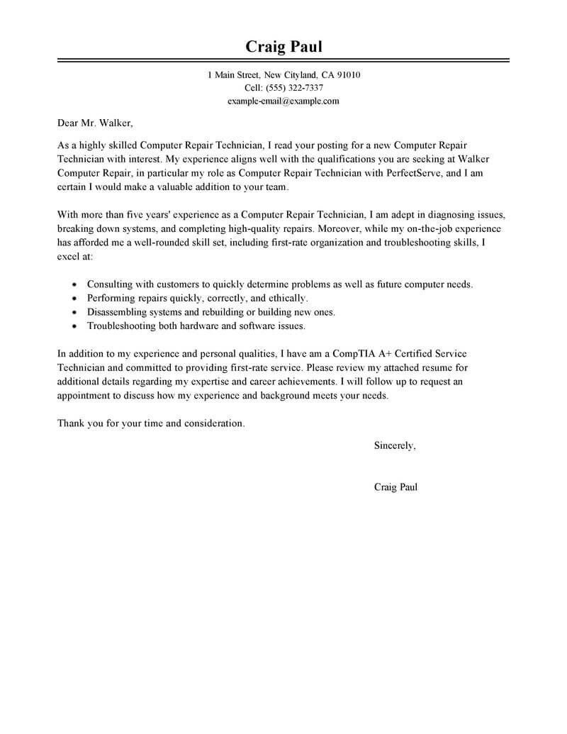 Technology Technician Cover Letter Best Computer Repair Technician Cover Letter Examples Livecareer