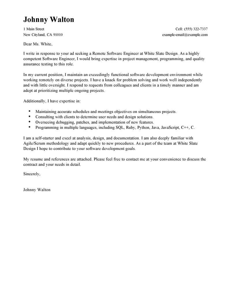 Nurse Executive Cover Letter Best Remote Software Engineer Cover Letter Examples Livecareer