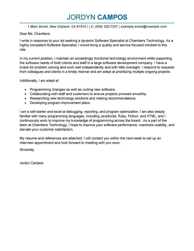 Software Developer Cover Letter Examples Best Software Specialist Cover Letter Examples Livecareer