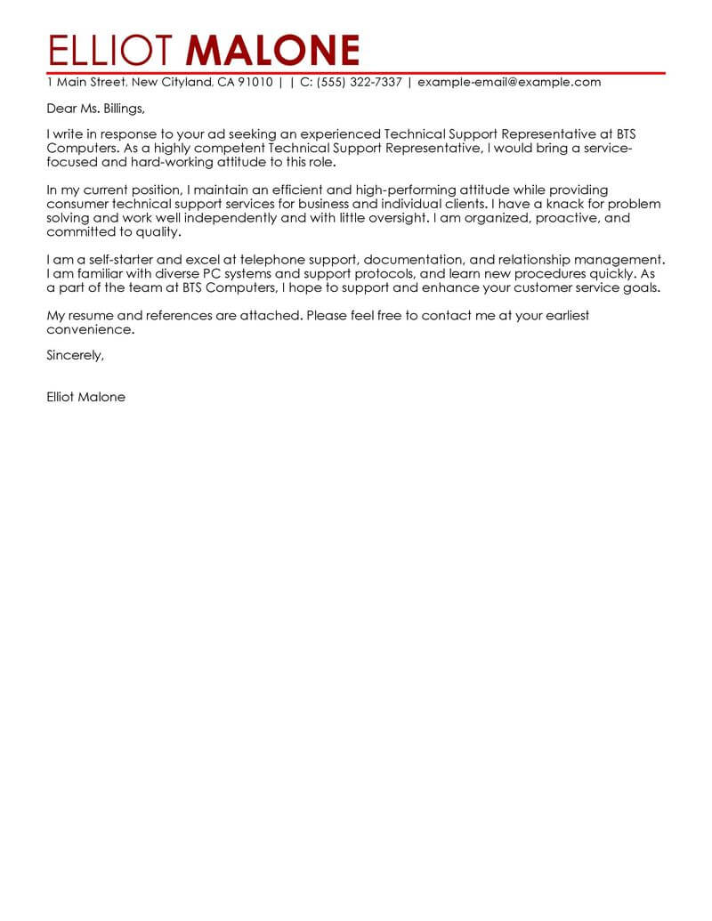 Accounting Support Cover Letter Best Technical Support Cover Letter Examples Livecareer