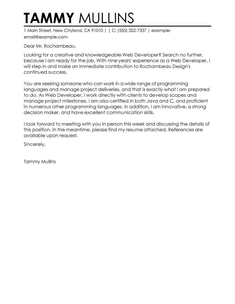 Web Developer Cover Letter Example Best Web Developer Cover Letter Examples For The It Industry