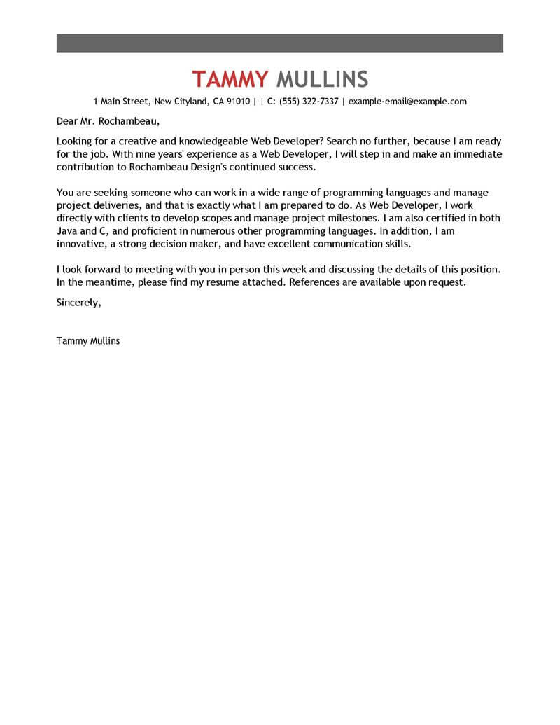 Developer Cover Letters Best Web Developer Cover Letter Examples For The It Industry