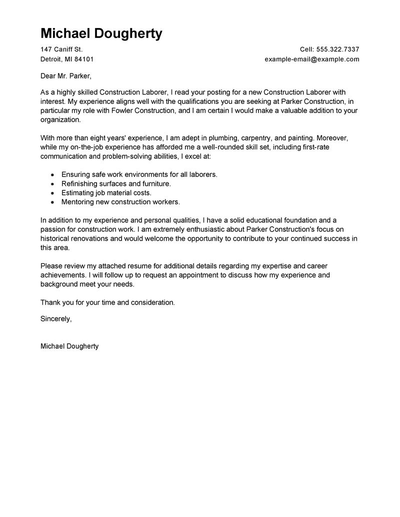 Concrete Form Carpenter Cover Letter Best Construction Labor Cover Letter Examples Livecareer