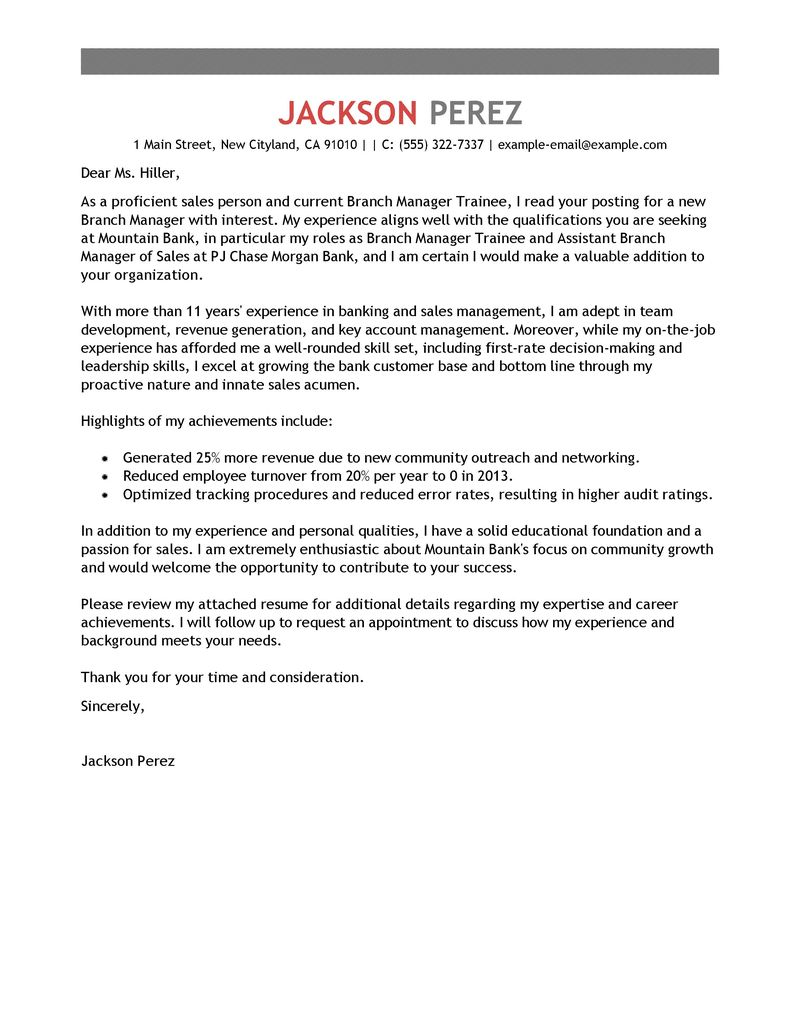 Branch Sales Manager Cover Letter Best Branch Manager Trainee Cover Letter Examples Livecareer