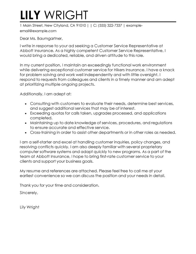Cover Letter Service Cover Letter For A Customer Service Representative Koran Sticken Co