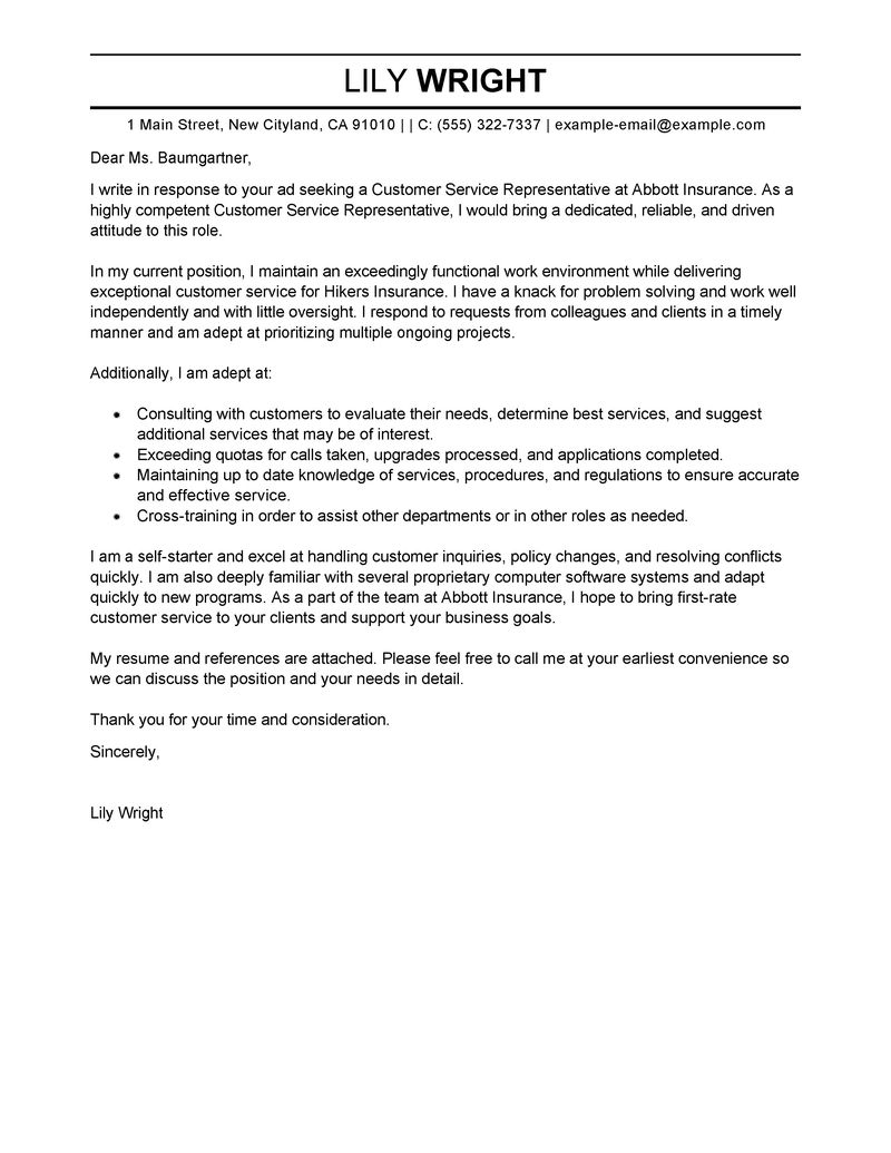 Cover Letter Service Best Customer Service Representative Cover Letter Examples