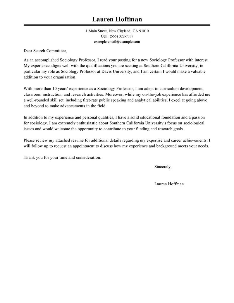 University Cover Letter Best Professor Cover Letter Examples Livecareer