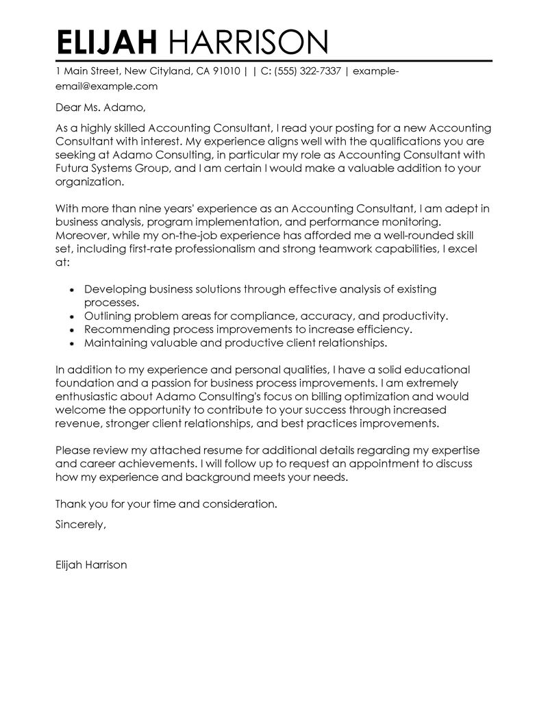 Accounting Support Cover Letter Best Consultant Cover Letter Examples Livecareer