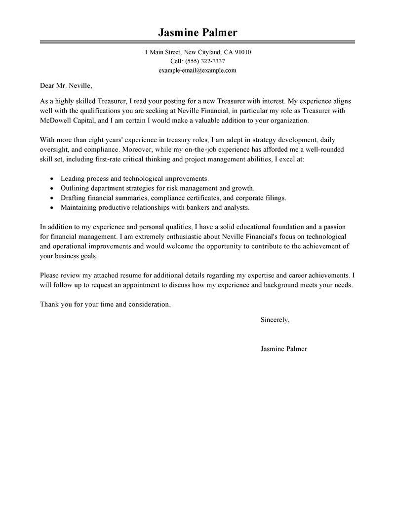 Best Treasurer Cover Letter Examples  LiveCareer