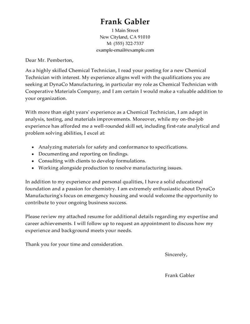 Test Technician Cover Letter Best Chemical Technicians Cover Letter Examples Livecareer