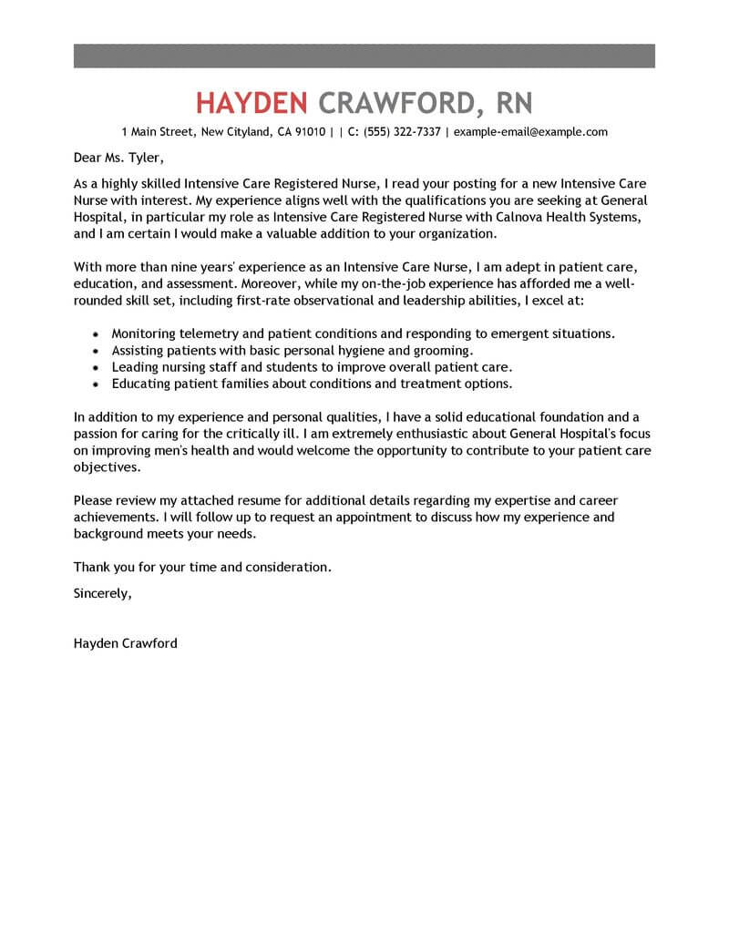 Health Nurse Cover Letter Best Intensive Care Nurse Cover Letter Examples Livecareer