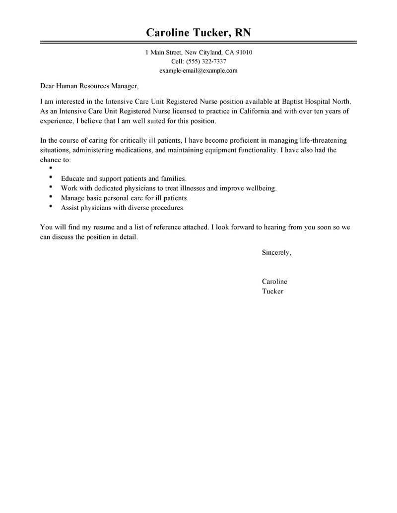 Sample Nurse Cover Letter Best Intensive Care Unit Registered Nurse Cover Letter Examples