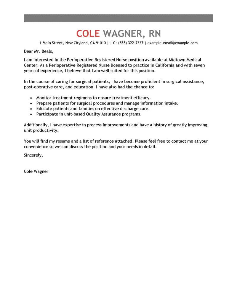 Nurse Executive Cover Letter Best Perioperative Nurse Cover Letter Examples Livecareer