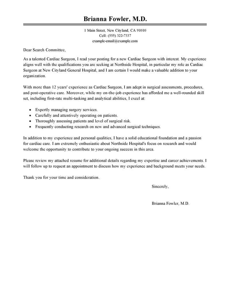 Transplant Social Worker Cover Letter Best Surgeon Cover Letter Examples Livecareer