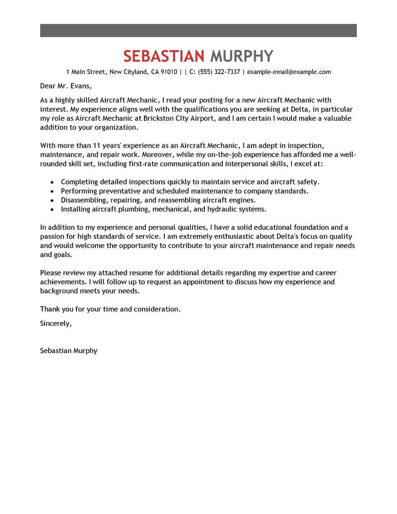 Paint Technician Cover Letter Best Aircraft Mechanic Cover Letter Examples Livecareer