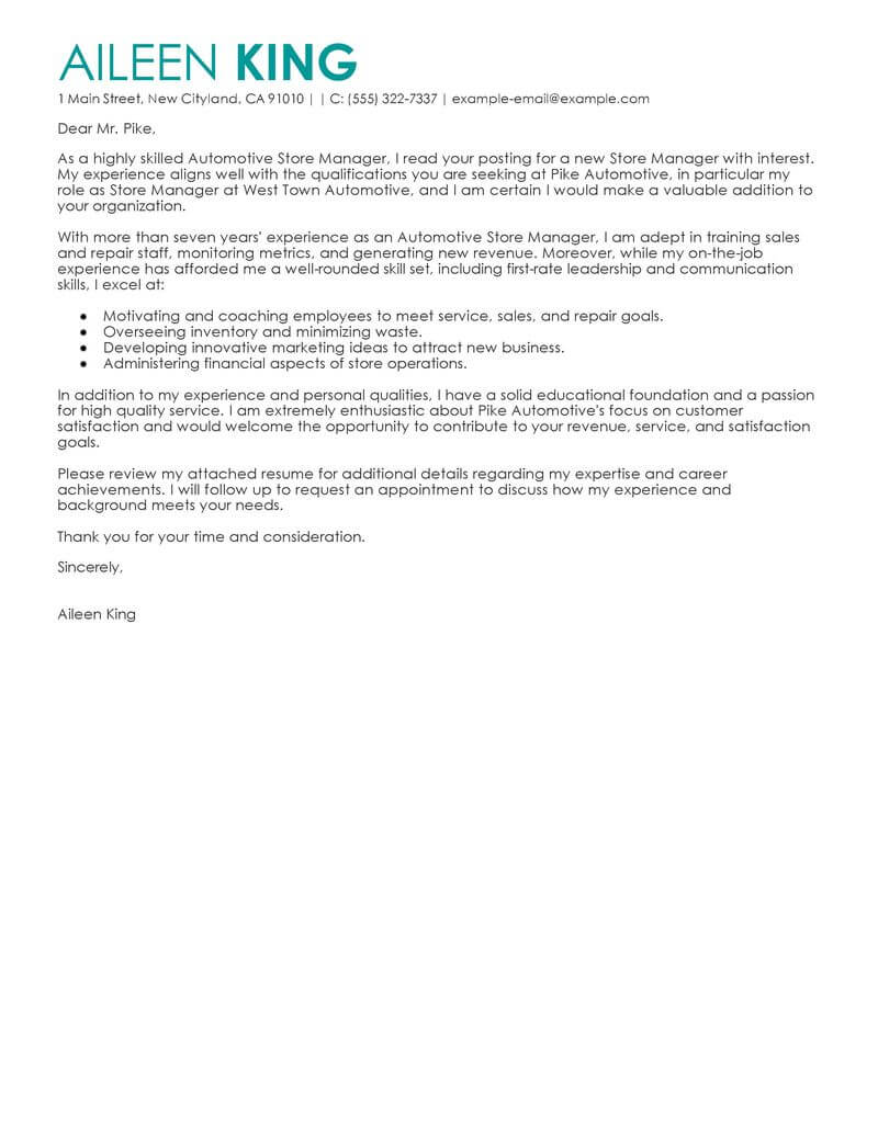 Branch Supervisor Cover Letter Best Store Manager Cover Letter Examples Livecareer