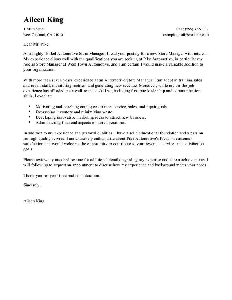 Board Director Cover Letter Best Store Manager Cover Letter Examples Livecareer