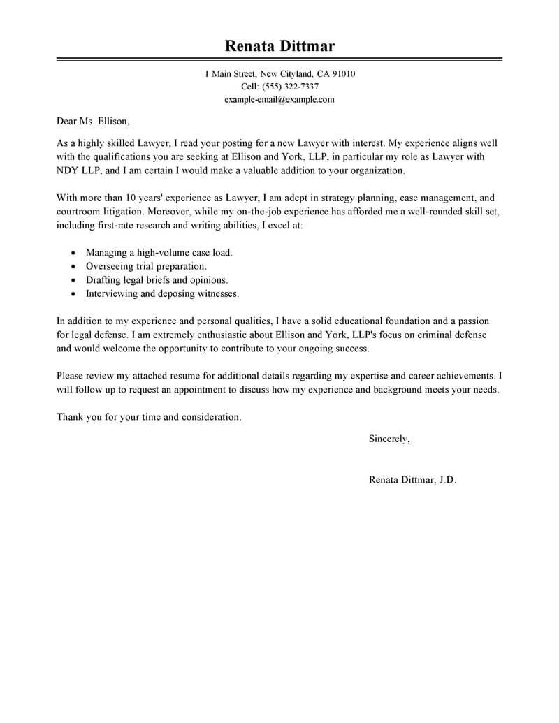 Legal Cover Letters Best Law Cover Letter Examples Livecareer