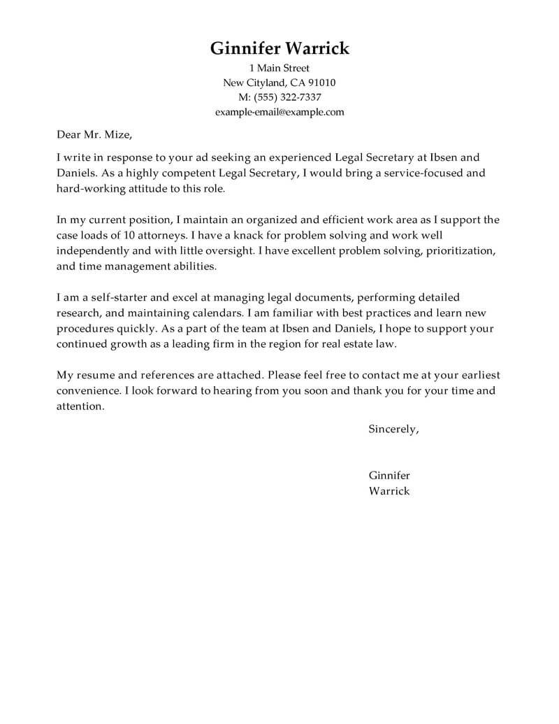 Sample Secretary Cover Letter Best Legal Secretary Cover Letter Examples Livecareer