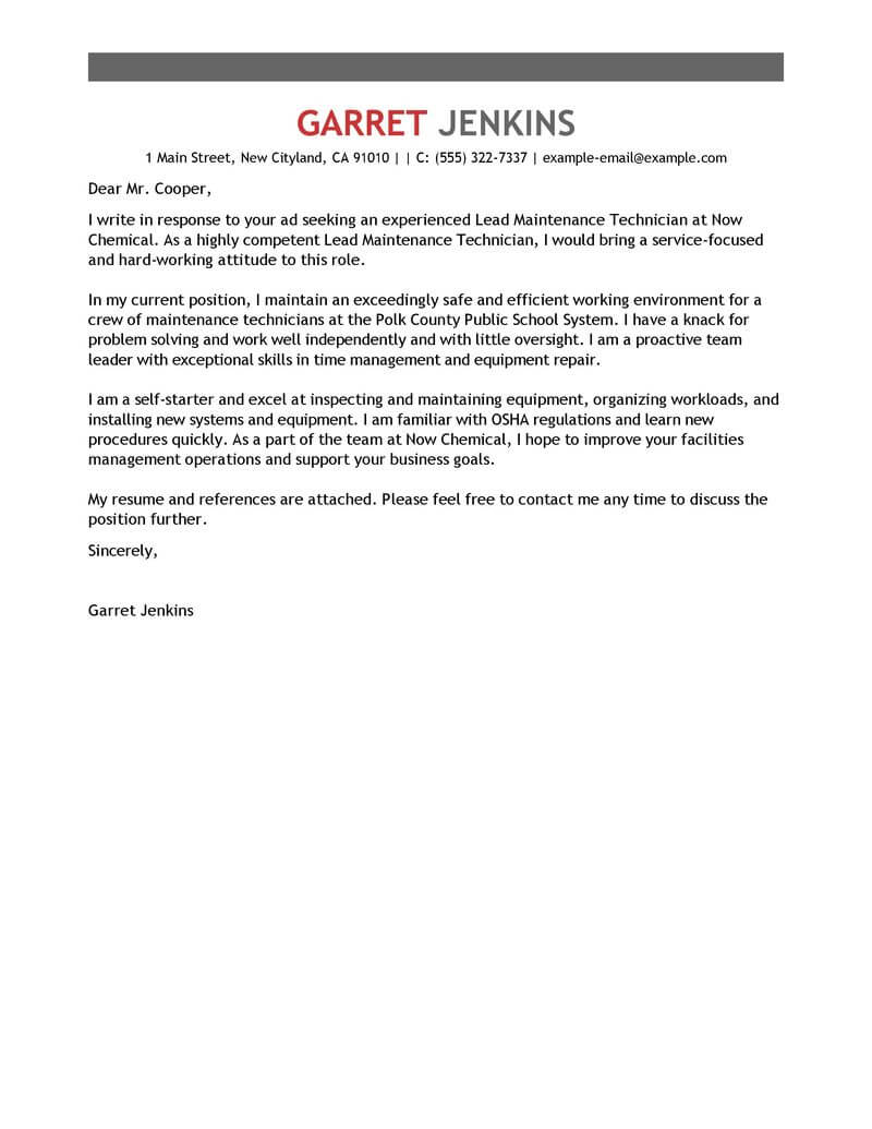 Maintenance Cover Letter Best Facility Lead Maintenance Cover Letter Examples Livecareer